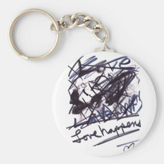 Love Happens Basic Round Button Key Ring