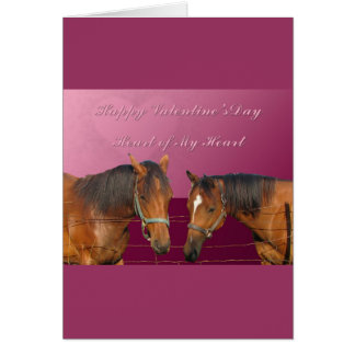 Love & Happy Valentines Horses With Hearts Pink & Greeting Card