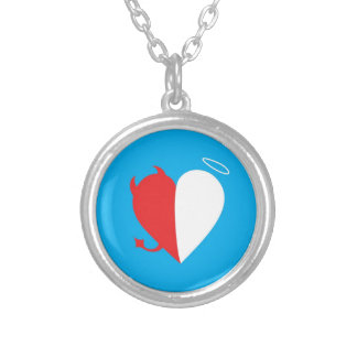 Love / Hate Silver Plated Necklace
