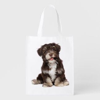 Love Havanese Puppy Dog Grocery Tote Bag