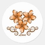 Love Hawaii Plumeria Classic Round Sticker