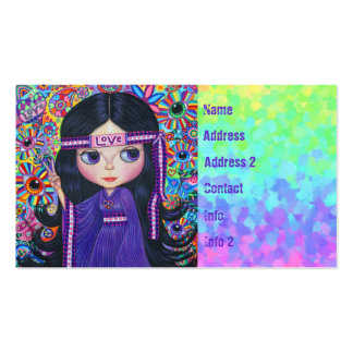 Love Headband Hippie Girl Doll Purple Psychedelic Pack Of Standard Business Cards