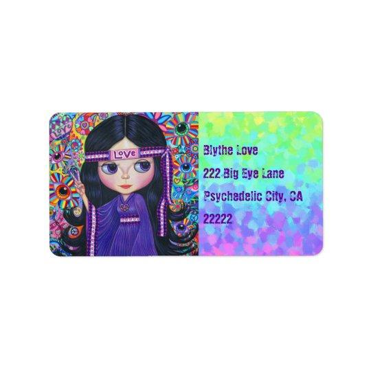 Love Headband Hippie Girl Doll Purple Psychedelic Label