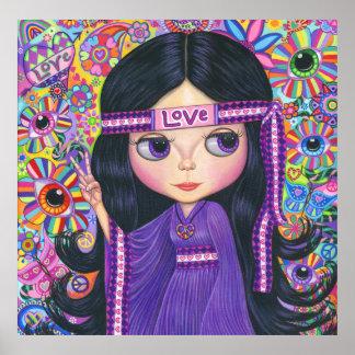 Love Headband Hippie Girl Doll Purple Psychedelic Poster