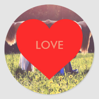 """Love"" heart (adaptable) Classic Round Sticker"