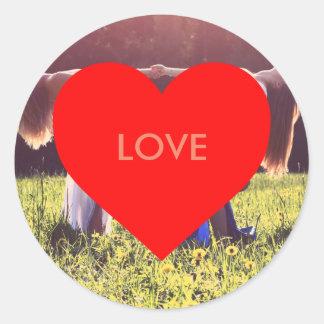 """""""Love"""" heart (adaptable) Round Sticker"""