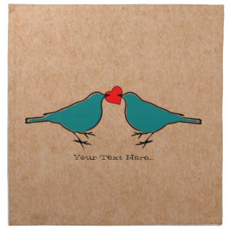 Love Heart And Birds Valentines Napkin