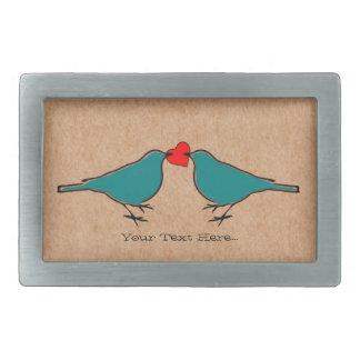 Love Heart And Birds Valentines Rectangular Belt Buckle