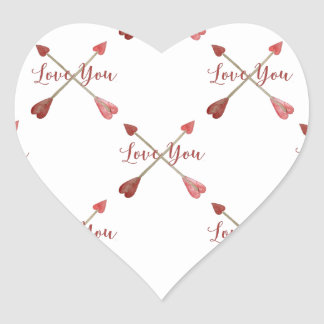 Love Heart Arrows Handpainted Watercolor Grid Heart Sticker