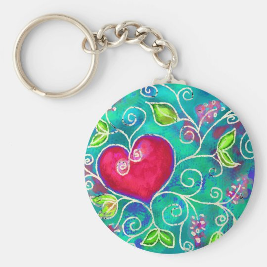 Love heart basic round button key ring