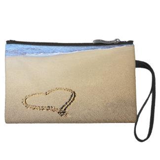 Love Heart Beach Wristlet Clutch