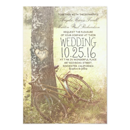 Love heart birch tree and bicycle rustic wedding