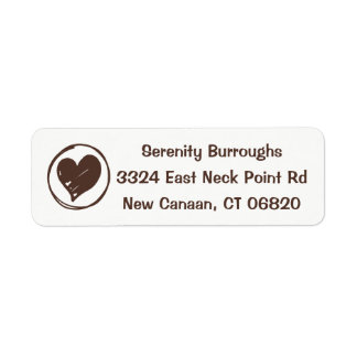 Love Heart Brown And White Wedding, Bridal Shower Return Address Label