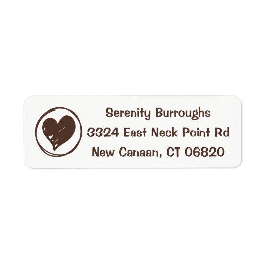 Love Heart Brown And White Wedding, Bridal Shower Return Address Label