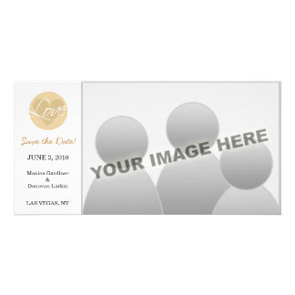 Love Heart Brown Save the Date Photo Card