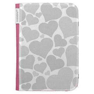 Love heart case - silver grey, unique, pretty kindle covers