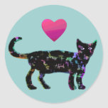 Love Heart Cats Round Stickers