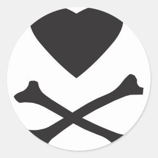 Love Heart Cross Bones Stickers