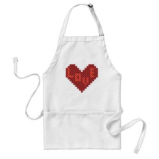 Love Heart Cross Stitch Aprons