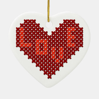 Love Heart Cross Stitch Christmas Ornament