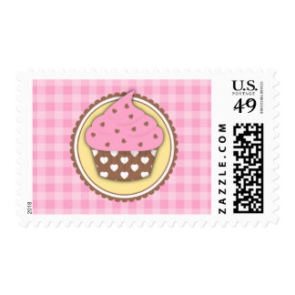 Love Heart Cupcake Postage Stamps