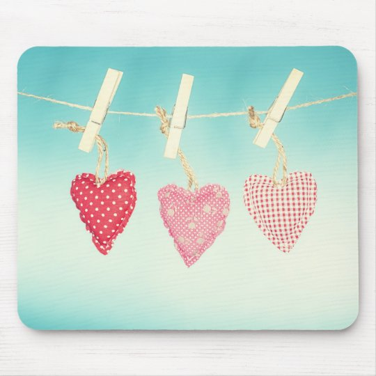 Love heart Cushions on a washing line mouse mat