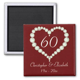 Love Heart Diamond Anniversary Memento Fridge Magnets
