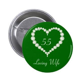 Love Heart Diamond Emerald Anniversary 6 Cm Round Badge