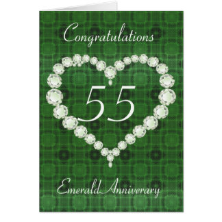 Love Heart Diamond Emerald Anniversary Card