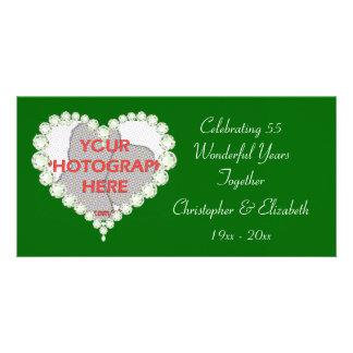 Love Heart Diamond Emerald Anniversary Customised Photo Card