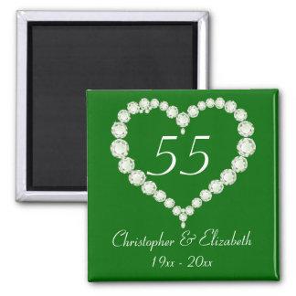 Love Heart Diamond Emerald Anniversary Magnet