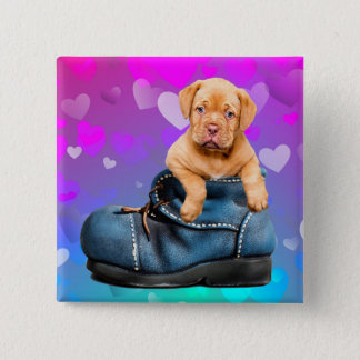 Love Heart Dogue de Bordeaux Puppy in a Boot 15 Cm Square Badge