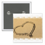 Love Heart Drawing Square Pin