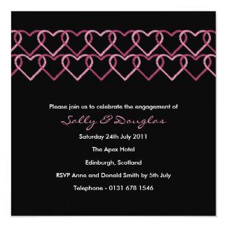 Love Heart Engagement Invitation - black