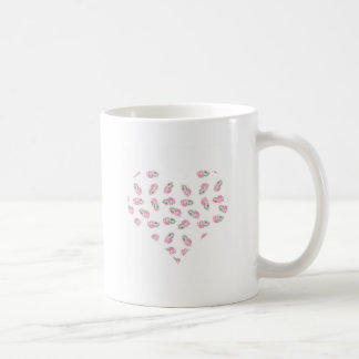 Love heart feather pink watercolour design basic white mug
