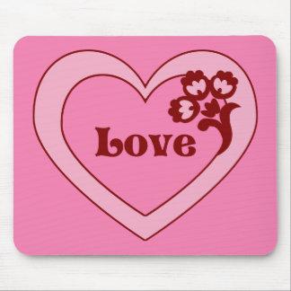 Love Heart Floral Mousepad