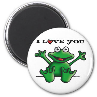 love heart frog 6 cm round magnet