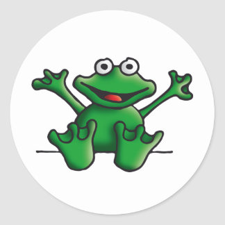 love heart frog round sticker