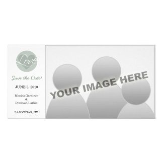 Love Heart Green Save the Date Photo Card Template