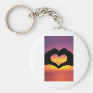 Love Heart Hands Basic Round Button Key Ring