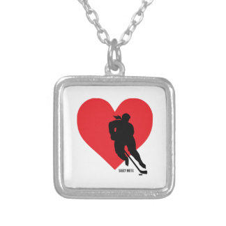 Love Heart Hockey Womens Girls Silver Plated Necklace