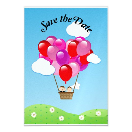 Love heart hot air balloon Wedding Save the