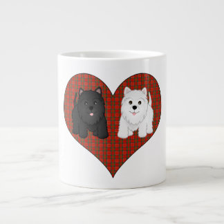 Love Heart in Plaid with Cute Cartoon Scottie Dogs Large Coffee Mug