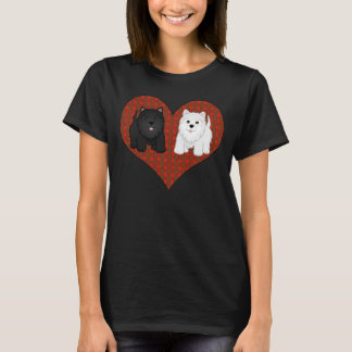 Love Heart in Plaid with Cute Cartoon Scottie Dogs T-Shirt