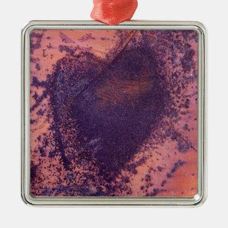 love heart in rusting metal christmas ornament