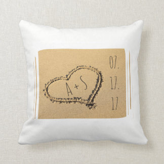 Love Heart in the Sand Beach Wedding Personalized Cushion