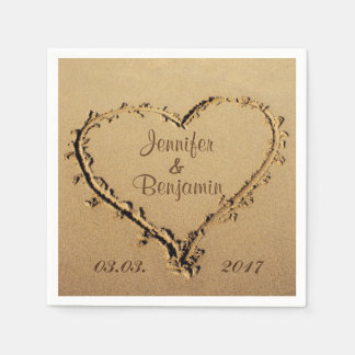 Love Heart in the Sand Personalized Names Wedding Paper Napkin
