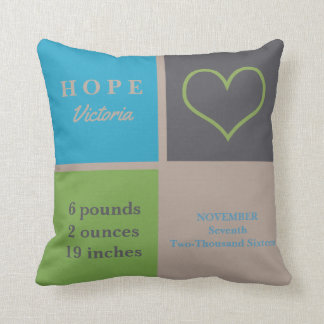 LOVE Heart Infant Nursery Neutral Birth Stats Cushion