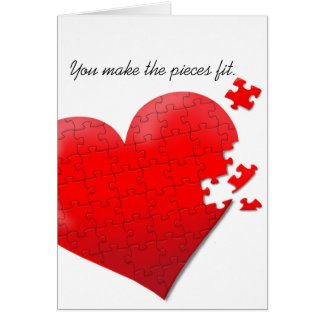 love heart jigsaw puzzle card