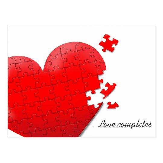 love heart jigsaw puzzle postcard